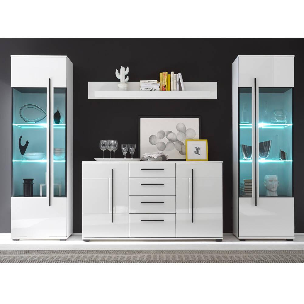 Esszimmer-Kombi mit 2 Vitrinen und Sideboard COLORADO-61 in weiß Hochglanz inkl. LED BxHxT: 300x200x42cm