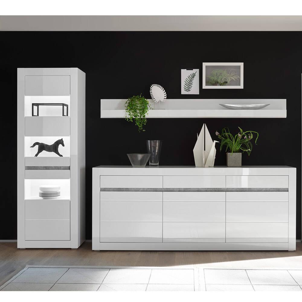 Wohnwand Vitrinen und Sideboard Set in Hochglanz weiß COGO-61 modernes Design mit Griffmulden in Betonoptik BxHxT: 298x162x42cm