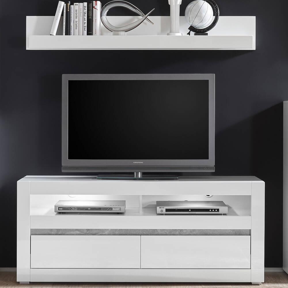 TV-Lowboard inkl. Wandregal COGO-61 in weiß Hochglanz und Griffmulde Betonoptik BxHxT: 150x135x42cm