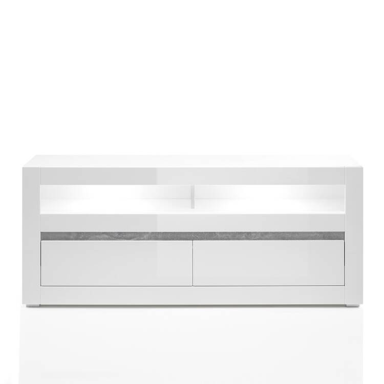 Media wall unit COGO 61 in white high gloss with hifi rack