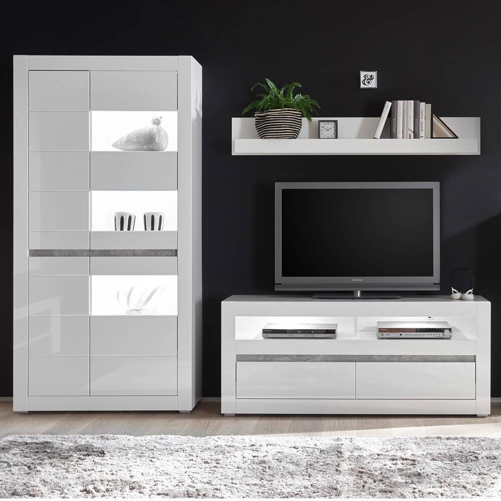 Media Wohnwand Set COGO-61 TV-Möbel in weiß Hochglanz mit Griffmulden in Betonoptik BxHxT: 265x198x42cm