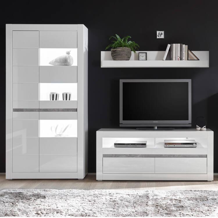 Media Wohnwand Set COGO-61 TV-Möbel in weiß Hochglanz mit Griffmulden