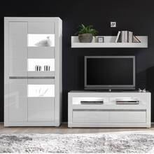 Media wall unit set COGO-61 TV furniture in white high...