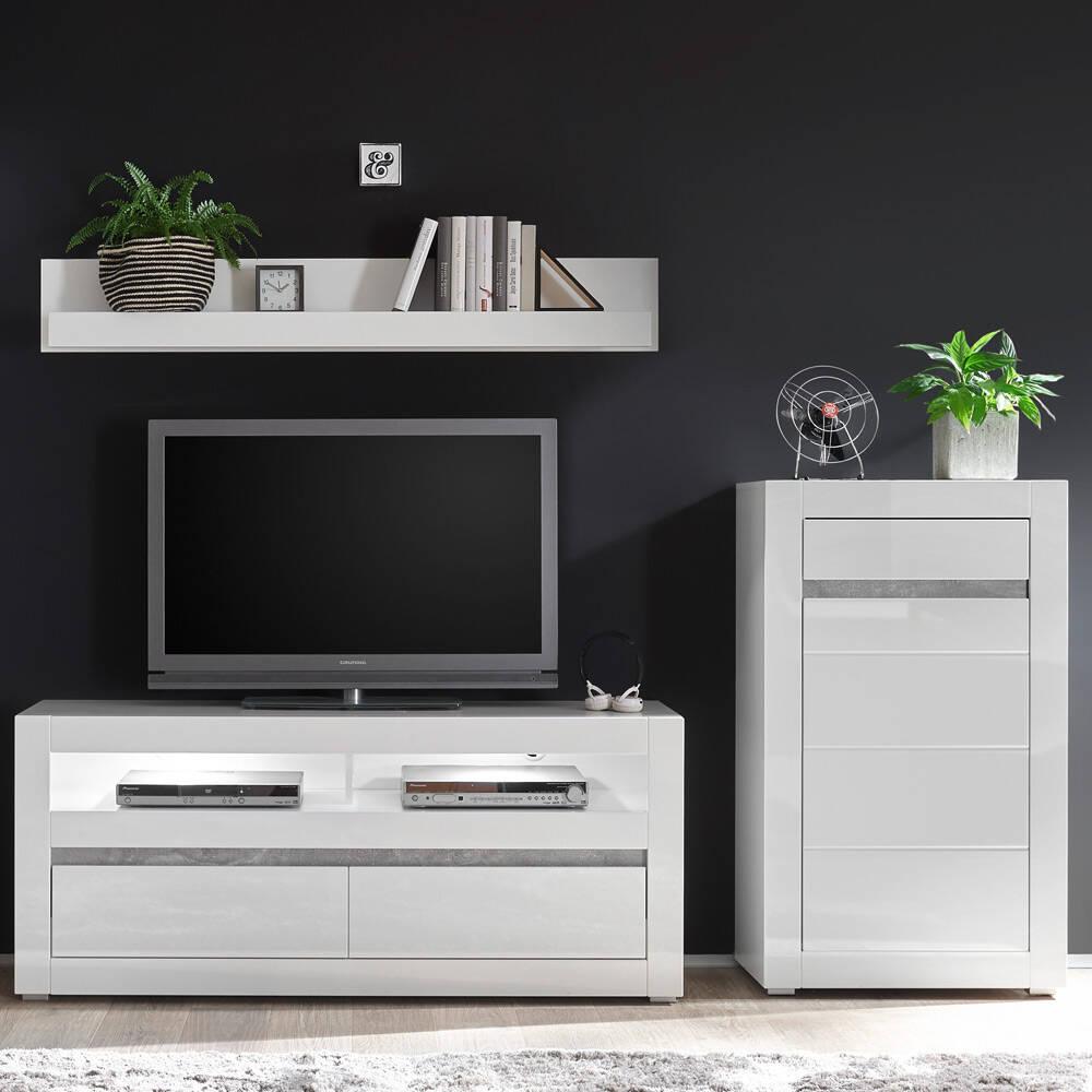 Wohnwand TV-Möbel in Hochglanz weiß COGO-61 Rack mit LEDBxHxT: 231x135x42cm