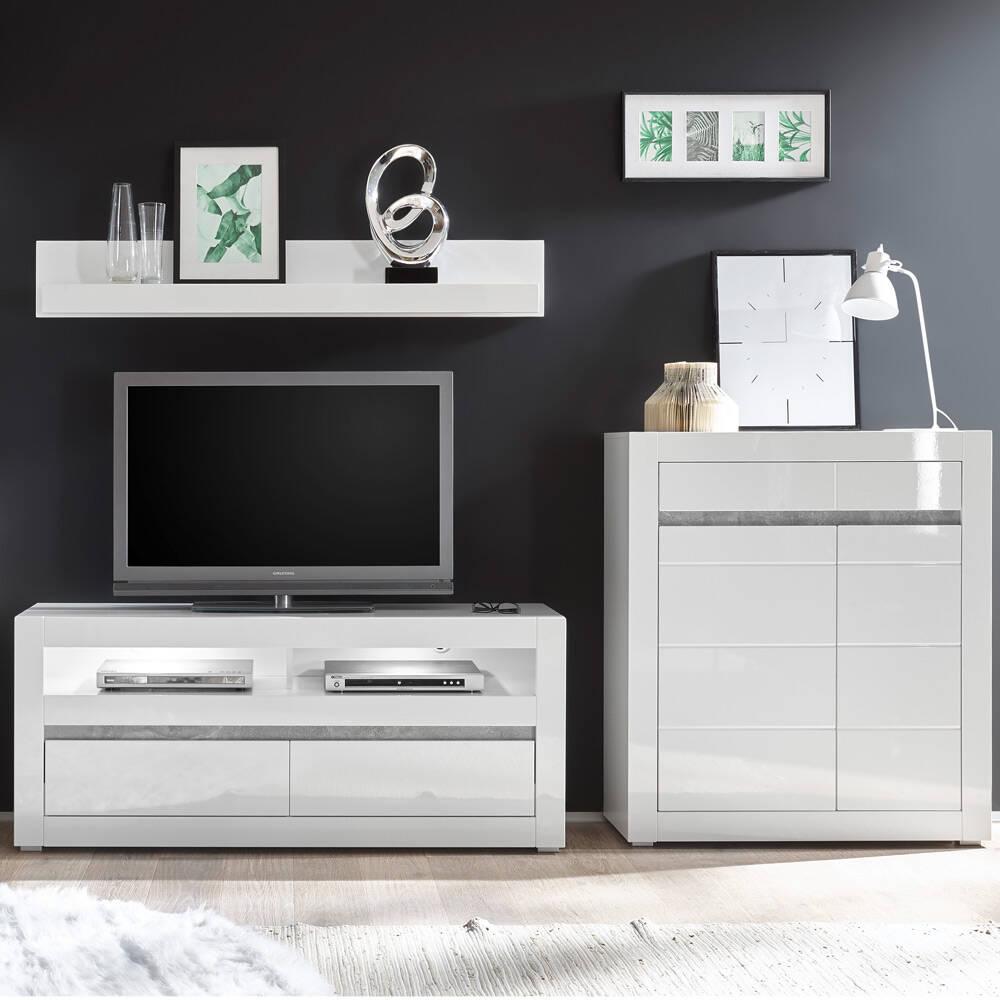 Wohnwand mit LED in Hochglanz weiß und Griffmulden Betonoptik COGO-61 BxHxT: 265x135x42cm