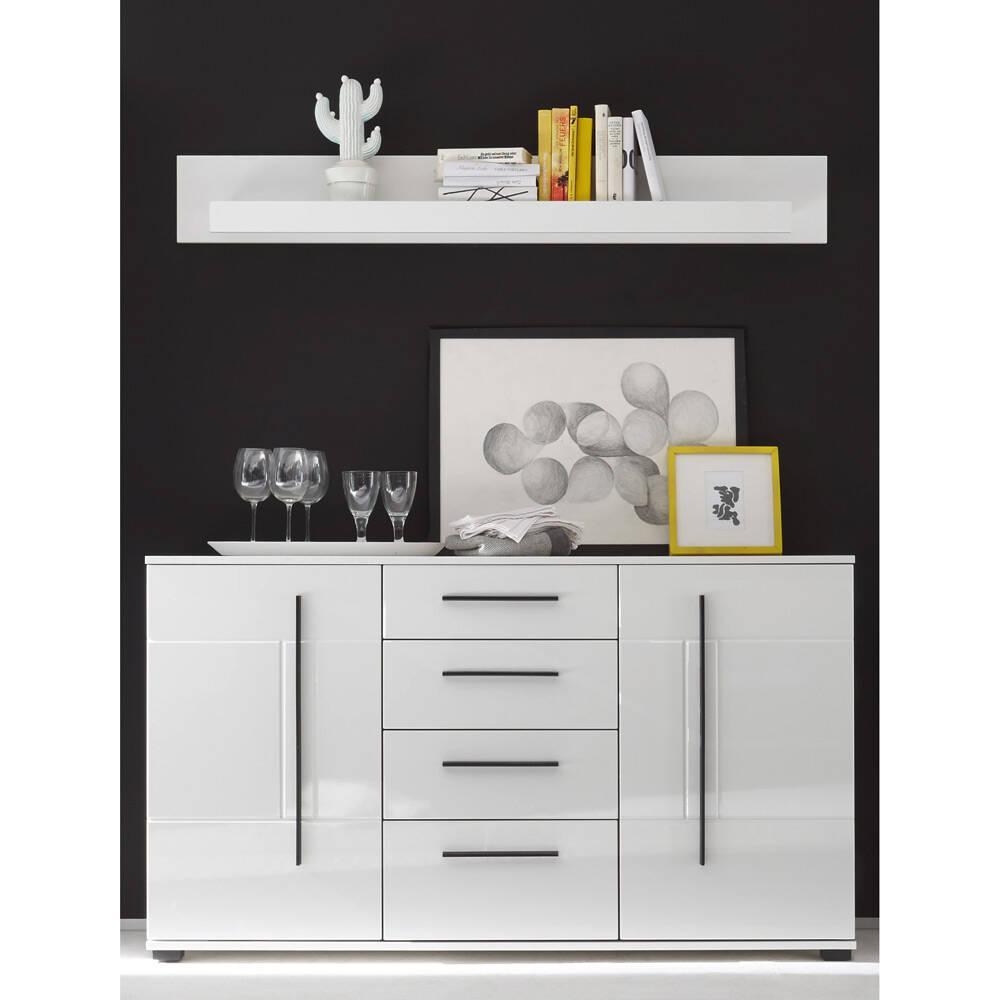 2er-Kombi Sideboard und Wandboard COLORADO-61 in weiß Hochglanz mit schwarzen Relinggriffen BxHxT: 150x156x42cm