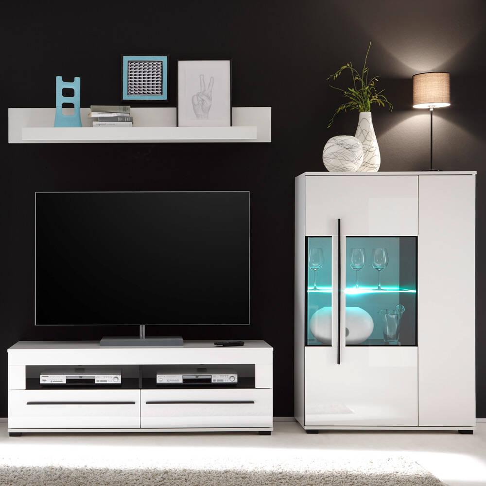 Moderne Wohnwand 3-tlg COLORADO-61 in weiß Hochglanz mit Highboard inkl. LED BxHxT: 245x140x47cm