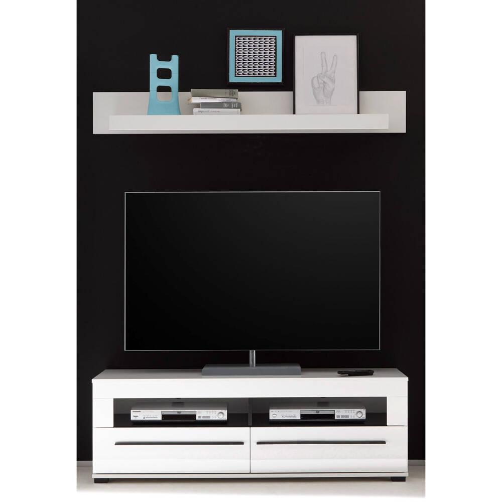 TV-Rack und Wandboard COLORADO-61 in weiß Hochglanz mit schwarzen Relinggriffen BxHxT: 150x130x47cm