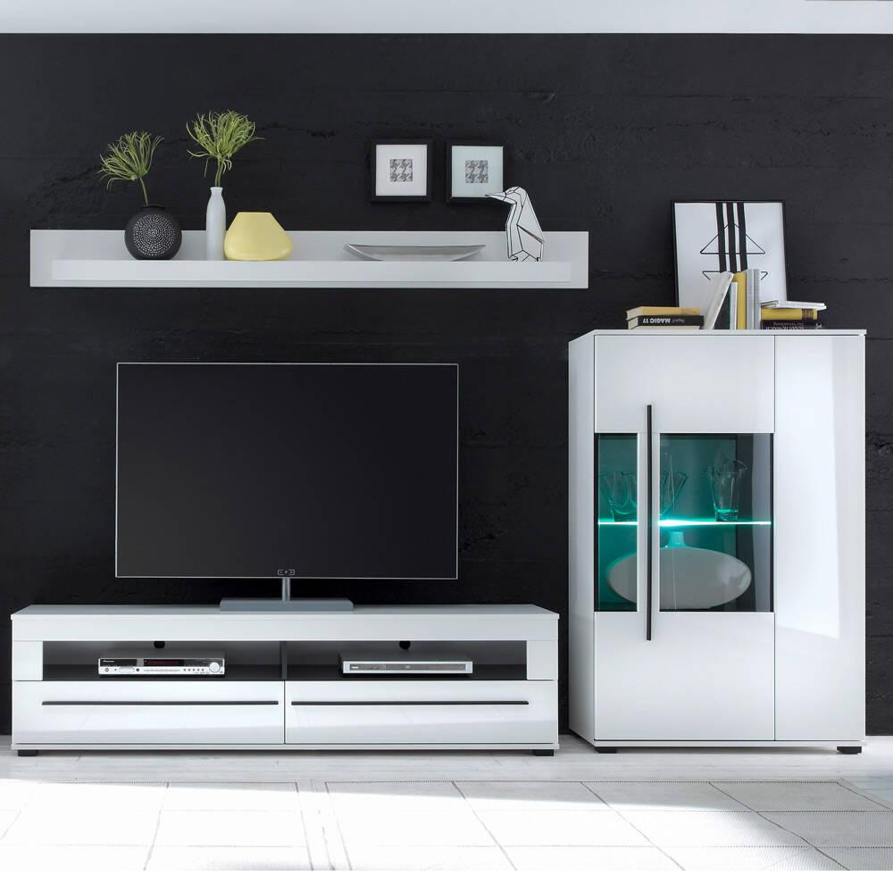 Wohnmöbel-Set in Hochglanz weiß COLORADO-61 TV-Lowboard und Highboard mit schwarzen Relinggriffen BxHxT: 285x170x47cm