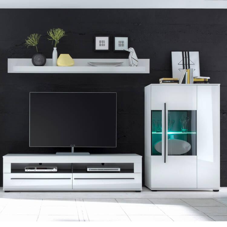 wohnm bel set in hochglanz wei colorado 61 tv lowboard. Black Bedroom Furniture Sets. Home Design Ideas