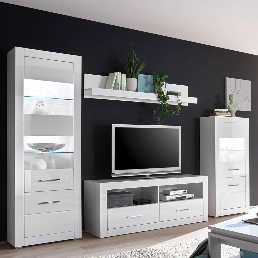Wohnwand in weiß Hochglanz mit 2 Vitrinen inkl. LED BALVE-61 BxHxT: 300x198x45cm