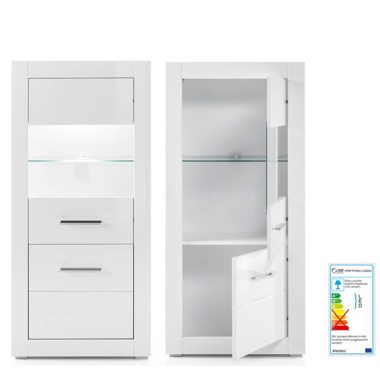 Moderne Wohnzimmer Wohnwand BALVE-61 in weiß Hochglanz mit 2 Vitrinen inkl.  LED BxHxT: 300x198x45cm