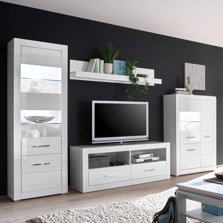 Wohnwand Set Balve 61 Moderne Tv Losung In Weiss Hochglanz Mit Vitrinen