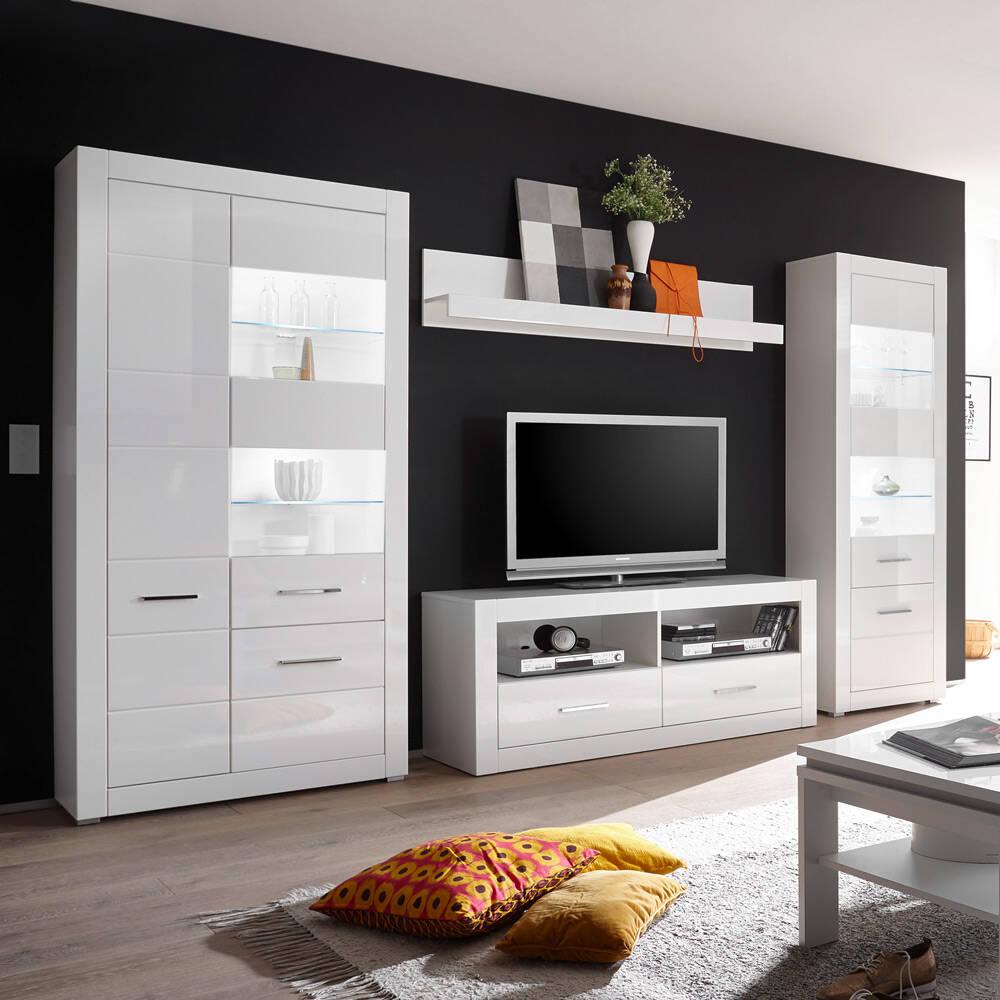 Anbauwand BALVE-61 moderne Wohnwand in weiß Hochglanz mit großer Vitrine & LED BxHxT: 335x198x45cm