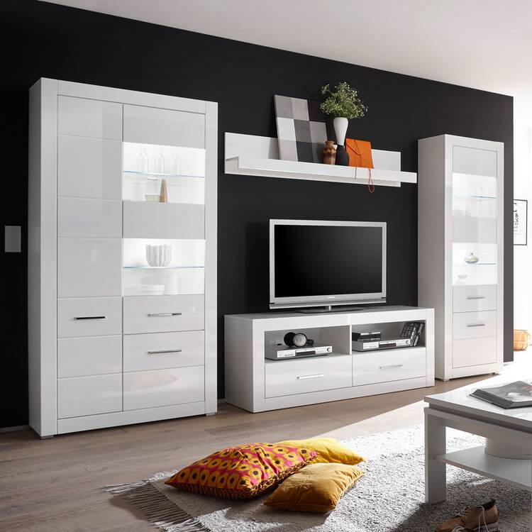 Anbauwand Balve 61 Moderne Wohnwand In Weiss Hochglanz Mit Grosser Vitri