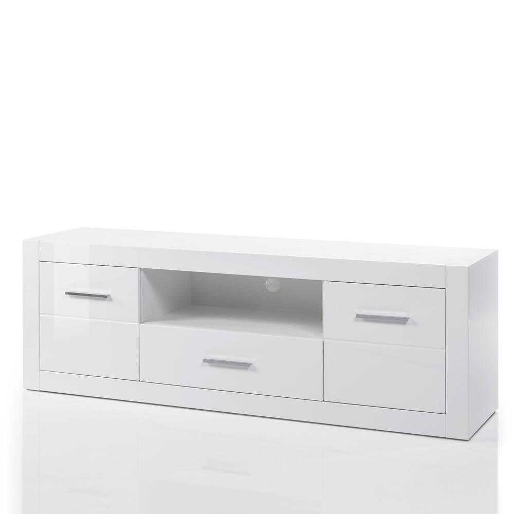 TV-Lowboard BALVE-61 in weiß Hochglanz mit Kabeldurchlass & LED BxHxT: 180x61x45cm