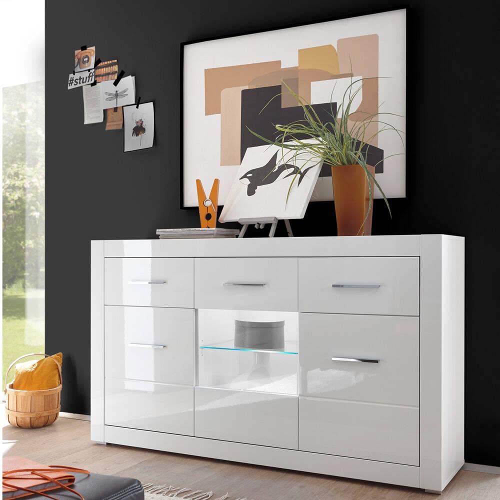 Anrichte Sideboard BALVE-61 in weiß Hochglanz mit Glasausschnitt und Beleuchtung BxHxT: 164x97x42cm