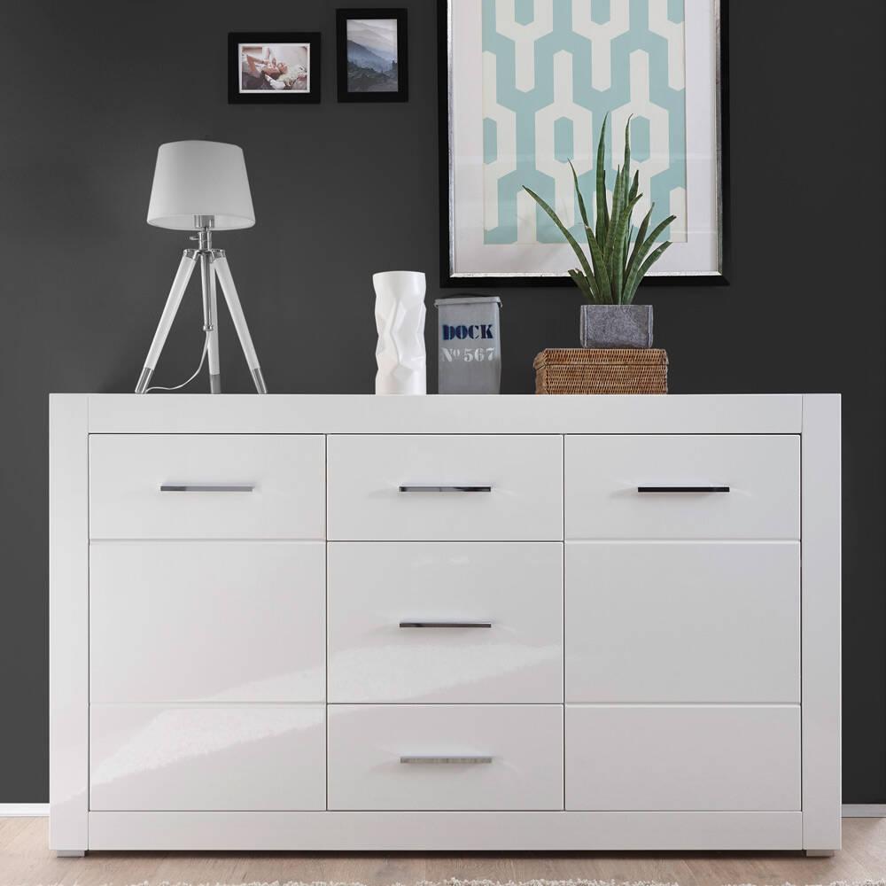 Wohnzimmer Sideboard im modernen Design BALVE-61 in weiß Hochglanz BxHxT: 164x97x42cm