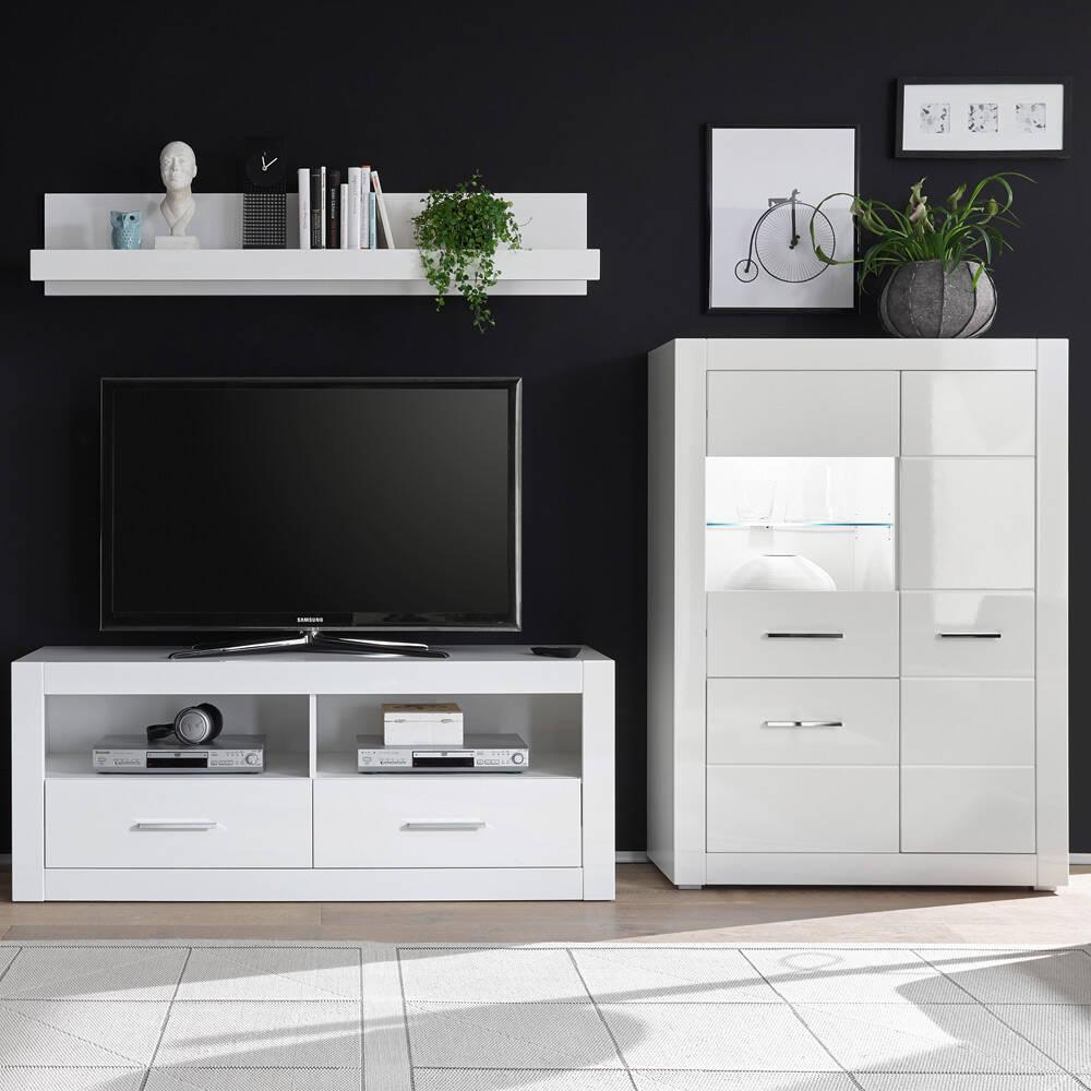 TV-Lösung BALVE-61 in Hochglanz weiß mit Wandboard und Highboard BxHxT: 265x185x45cm