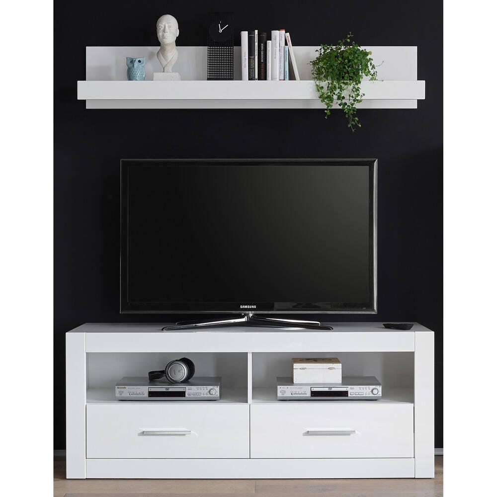 Hifi-Rack und Wandboard BALVE-61 modern in weiß Hochglanz BxHxT: 150x139x45cm