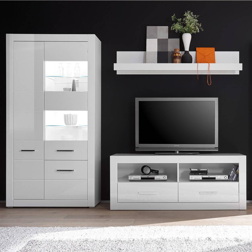 Wohnzimmer Möbel-Set BALVE-61 inkl. Vitrine mit LED in Hochglanz weiß BxHxT: 265x198x45cm