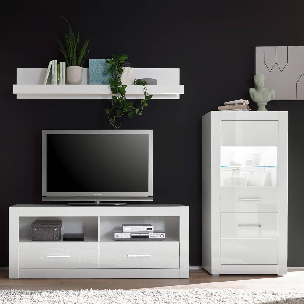 Hifi-Möbel Wohnwand-Set BALVE-61 in Hochglanz weiß mit Highboard inkl. LED BxHxT: 230x185x45cm