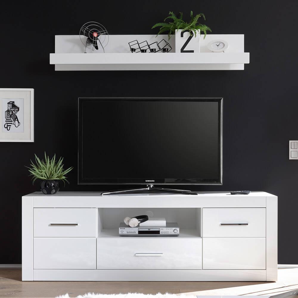 Großes TV-Lowboard BALVE-61 mit Wandboard modern in Hochglanz weiß BxHxT: 180x185x45cm