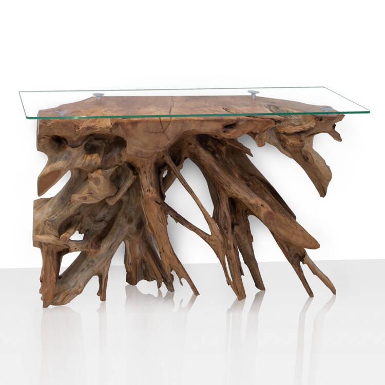 Design Konsolentisch UNIKAT aus einer Teakholz Wurzel & ESG-Glas Platt