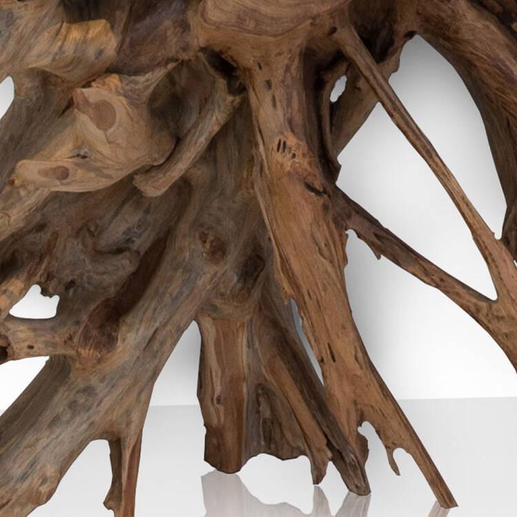 Design Konsolentisch UNIKAT aus einer Teakholz Wurzel & ESG-Glas Platte  B/H/T ca: 140/78/45cm