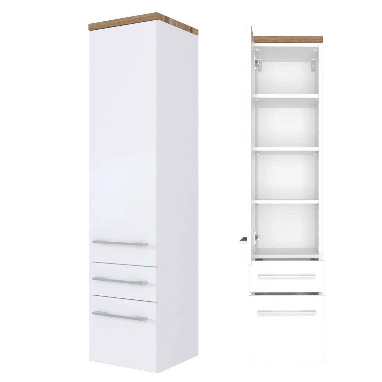 Badmöbel Midischrank Hochschrank 30 cm TAREE-03 in matt weiß