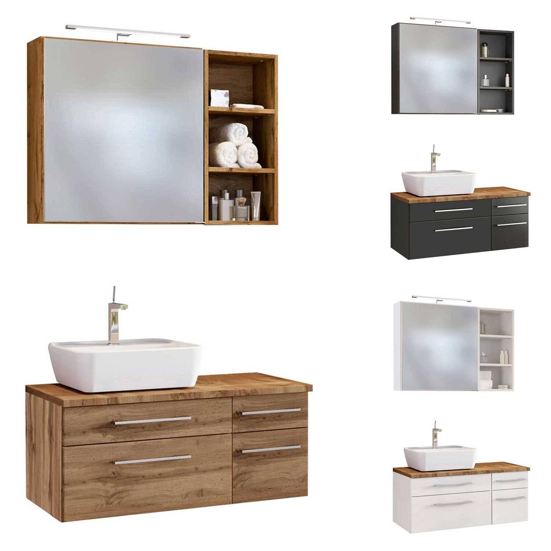 Badezimmer Möbel Set 3-teilig 90 cm inkl. Keramik-AufsatzwaschbeckenTAREE-03 in drei Fraben