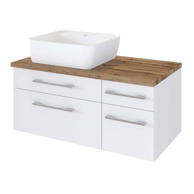 Badezimmer Waschtisch Unterschrank 90cm Taree 03 Mit Siphonausschnitt Links Inkl Keramik Waschbecken B H T 90 55 47 Cm