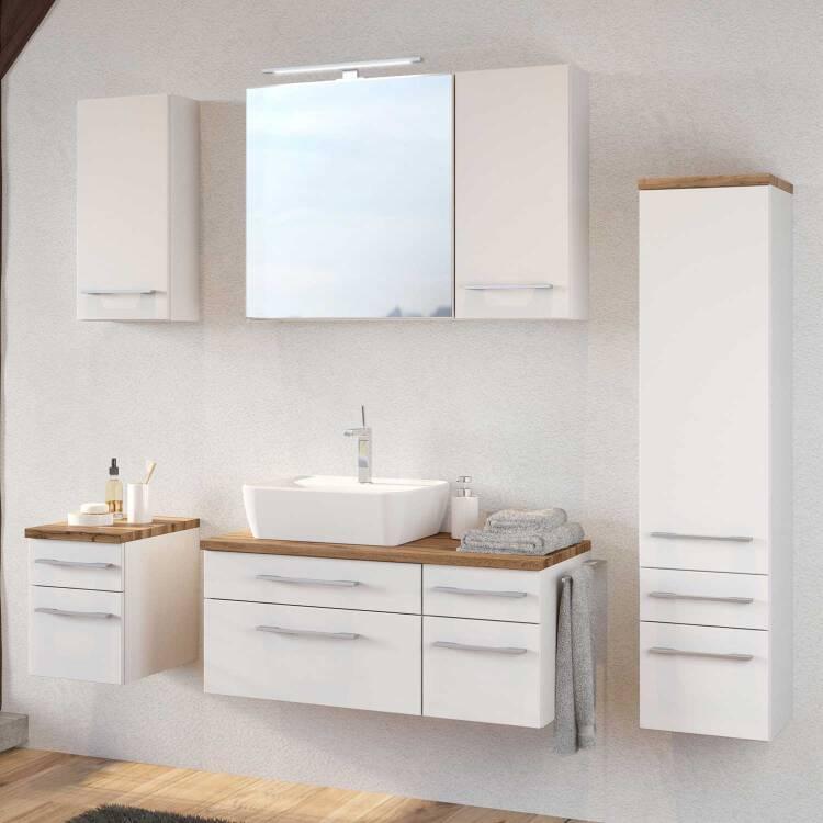 Badezimmer Waschtisch-Unterschrank 90cm TAREE-03 mit Siphonausschnitt Links  inkl. Keramik Waschbecken B/H/T: 90/55/47 cm
