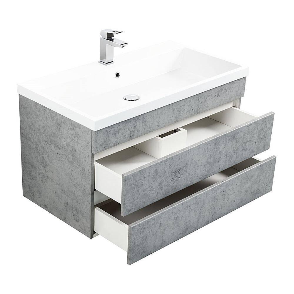 Badmöbel Waschtisch Set mit Unterschrank in Beton Optik KASSANDRA-02 mit 91cm Waschbecken B/H/T 91/60,4/49 cm
