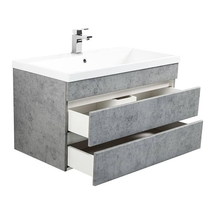 Badmöbel Waschtisch Set Mit Unterschrank In Beton Opt