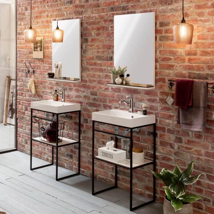 Badezimmer Waschtisch MONS 04 mit Mineralgussbecken und Stahlgestell i