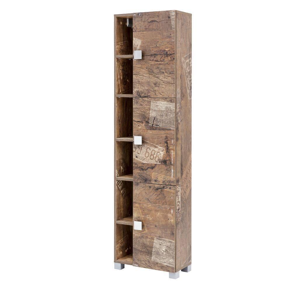 Badezimmer Hochschrank mit Regalfächern EVERE-04 in Panamaeiche matt mit Holzstruktur B/H/T ca. 44,9/167,6/23,3cm