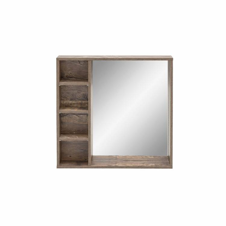 Spiegelelement EVERE-04 mit Regal für das badezimmer in Panamaeiche ma