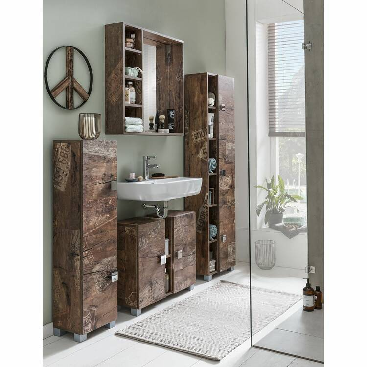 Spiegelelement EVERE-04 mit Regal für das badezimmer in Panamaeiche matt  mit Holzstruktur B/H/T ca. 73,3/73,2/15,8cm