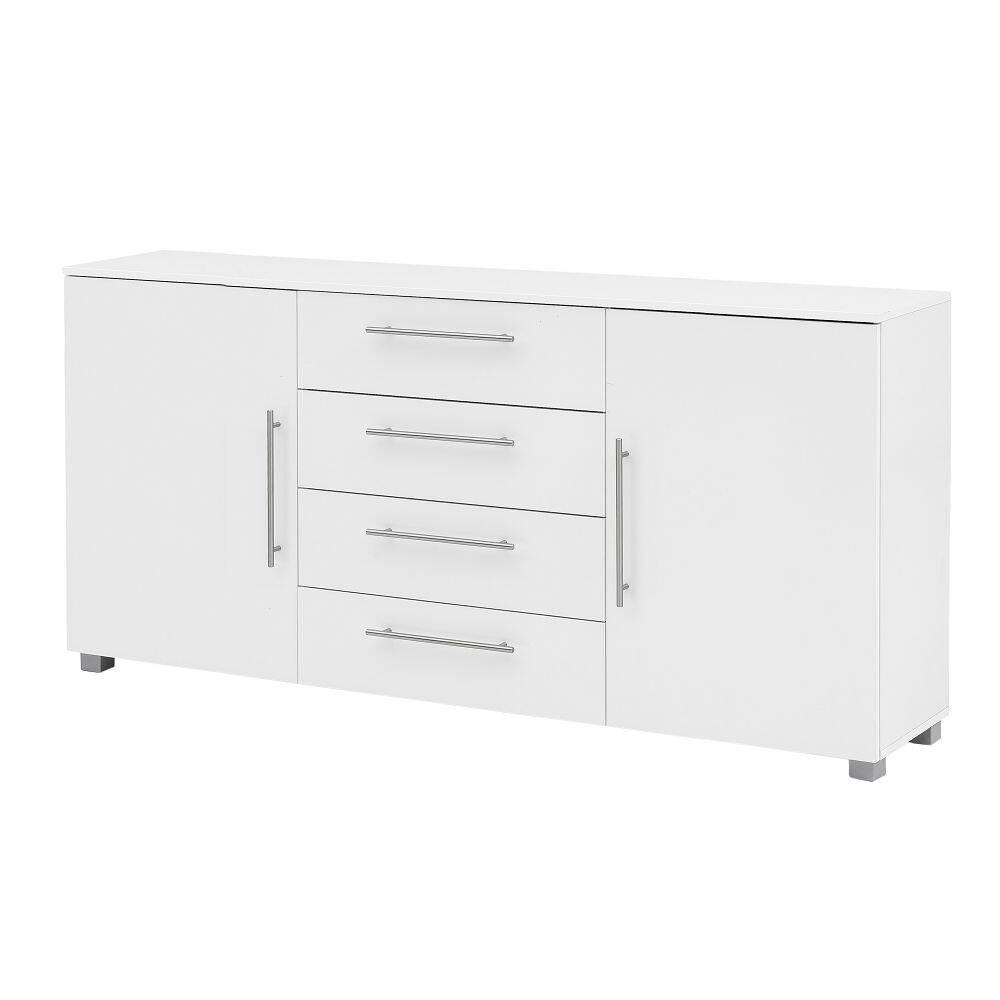 Anrichte Sideboard NIZZA-04 in weiß Glanz Schubladen-Kommode mit Relinggriffen B/H/T ca. 180,5/81,4/35cm