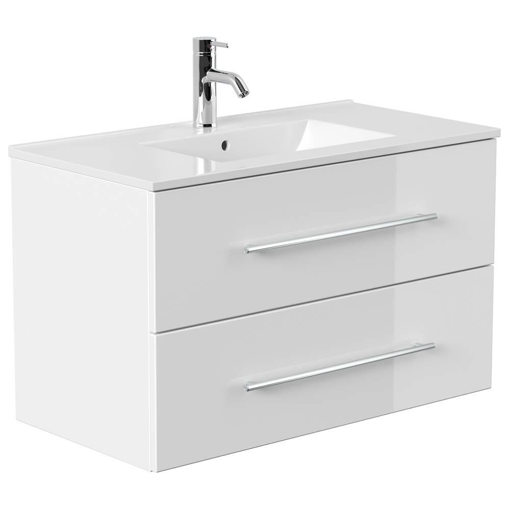 Waschplatz hochglänzend weiß HELLA-02 mit breitem Unterschrank und Keramikwaschbecken B/H/T ca. 90/54/46cm