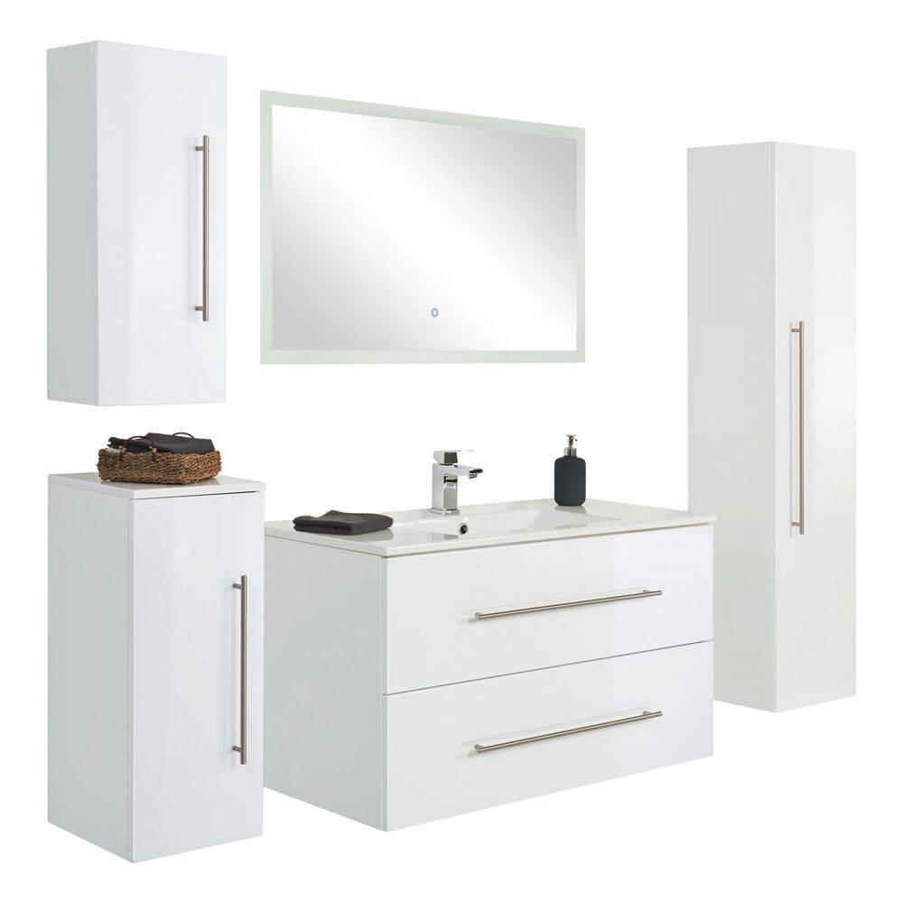 Badezimmer-Set mit Keramik-Waschtisch HELLA-02 in weiß Hochglanz, Hängeschränke und Touch-LED-Spiegel, B/H/T ca. 200/200/46cm