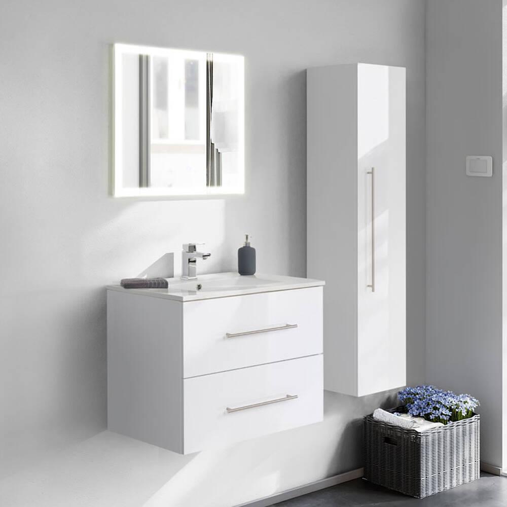 Badmöbel-Set HELLA-02 in weiß hochglanz mit Spiegel, Hochschrank und Waschplatz - B/H/T ca. 125/200/46cm