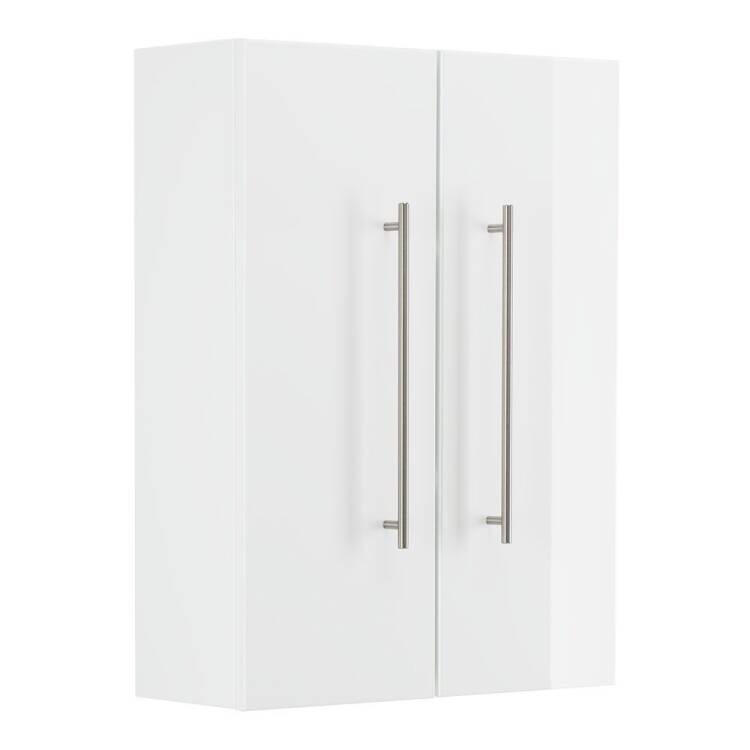 Badezimmer Hängeschrank LIBERTA-02 in weiß Hochglanz mit Türdämpfung -