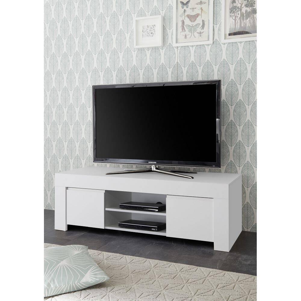 TV-Element FARUM-63 griffloses Lowboard in Lack matt weiß, mit Kabeldurchlass - B/H/T: 138/44/42cm
