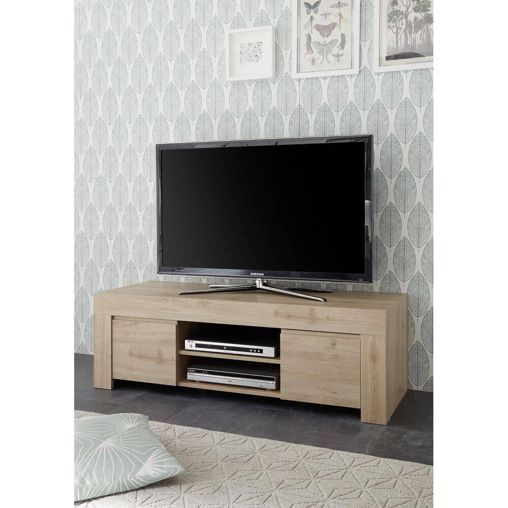 Wohnzimmer TV-Lowboard FARUM-63 in Eiche Cadiz Nb., grifflos und mit Kabeldurchlass - B/H/T: 138/44/42cm