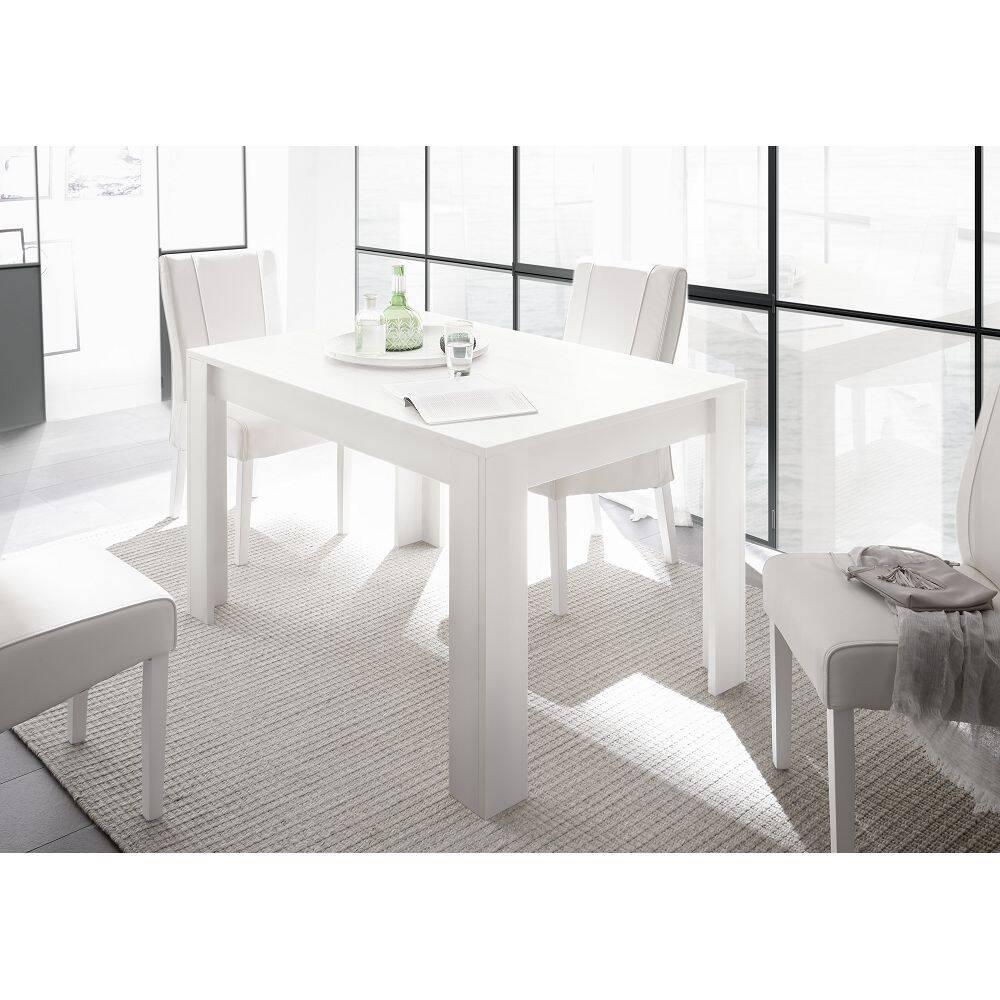Esstisch FARUM-63 dezenter Tisch in Lack weiß matt mit Ansteckplatte 48cm - B/H/T: 137-185/79/90cm
