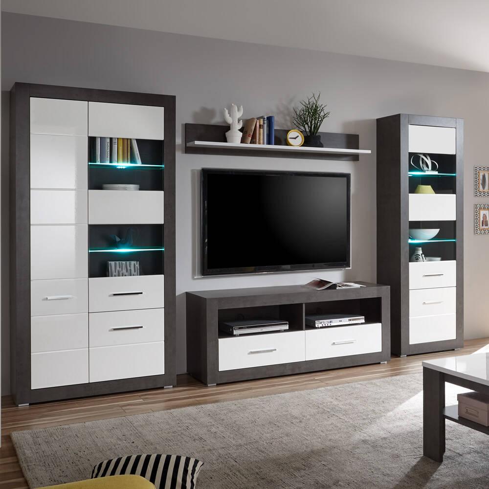 Moderne Wohnwand mit Standvitrinen ETON-61 in Betonoptik dunkel & Hochglanz weiß B/H/T: 335/198/35-45cm