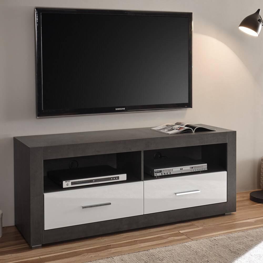 TV-Lowboard ETON-61 in Hochglanz weiß mit Dark Concret Nb. (Betonoptik dunkel) B/H/T: 150/61/45cm