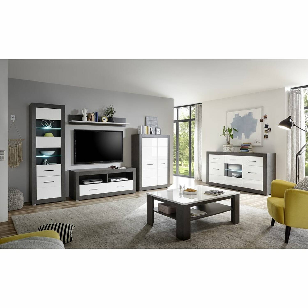 Wohnmöbel Set mit Sideboard & Couchtisch inkl. LED ETON-61 in Dark Concret Nb. & Hochglanz weiß